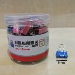 华杰HJ-8556彩色长尾夹/15MM/48盒/件
