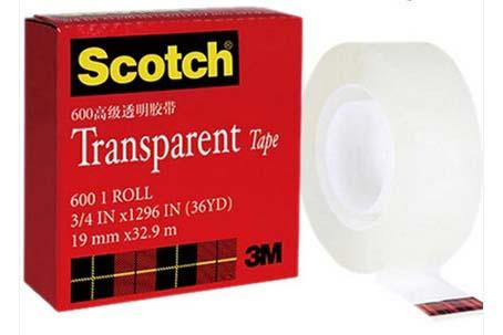 思高3M600高级透明胶带19*32.9M/12卷/条